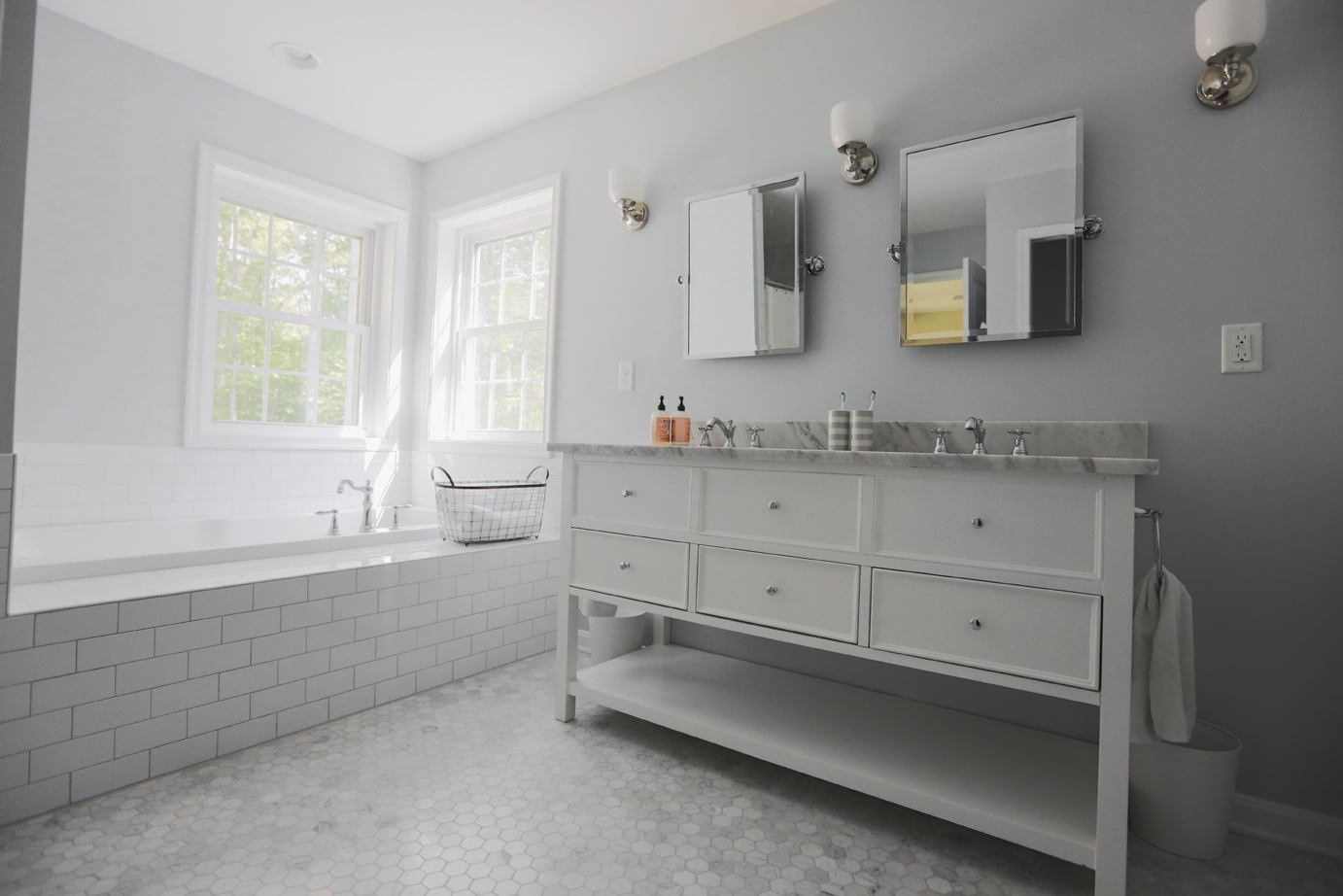 Lunch break g tour of the little house the potty rooms all of the bathrooms have traditional white subway tile with a light gray grout on the walls downstairs the hardwood floors that are on the entire floor go dailygadgetfo Images