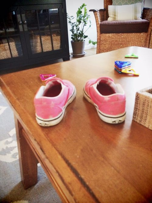 Shoes on table