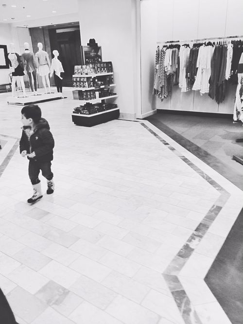 Charlie walking in mall