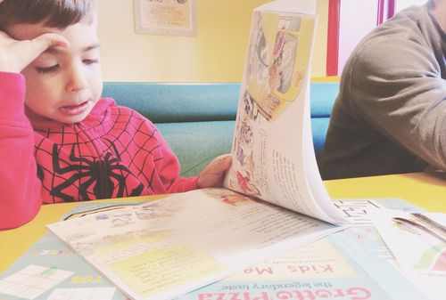 Reading in restaurant